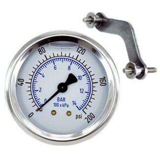 Pressure Gauge 200 psi (14 Bar) Fits: GAU-0200, GAG-0006W, Bauer