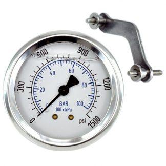 Pressure Gauge 1500 psi (103 Bar) Fits: GAU-1500, GAG-0008W, Bauer